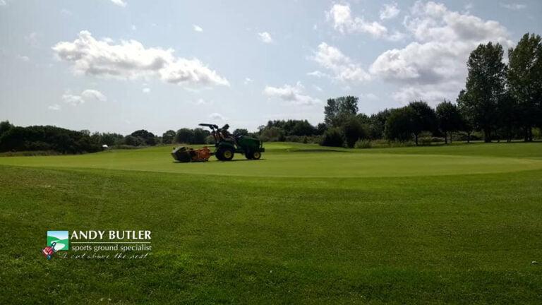 Golf green maintenance in Ferndown, Dorset, at the Dudsbury Luxury Golf Club Hotel & Spa, August 2019