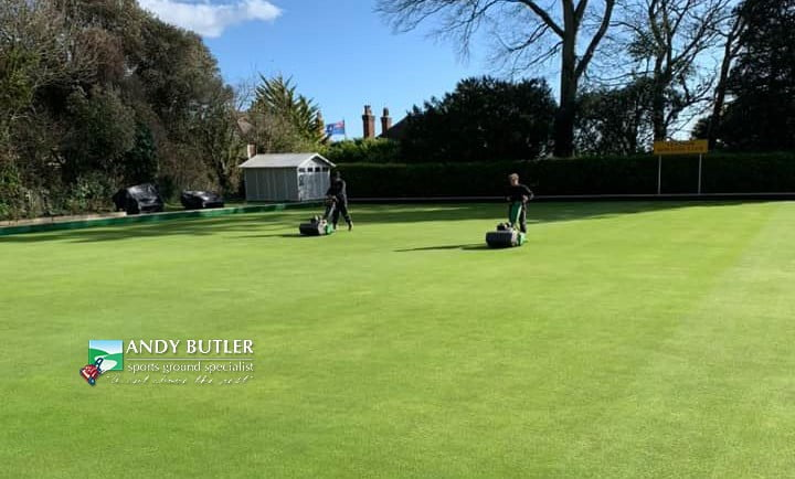 Bowling greens maintenance on Isle of Wight, Spring 2020