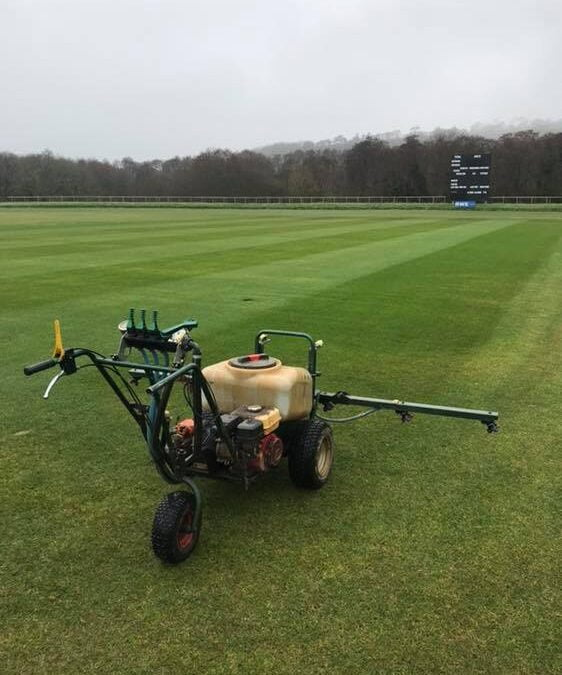 Cricket pitch square maintenance at Newclose Cricket Ground, Isle of Wight