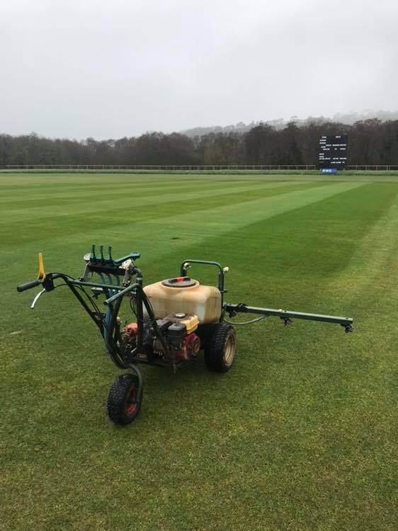 cut and spray of cricket pitch square at newclose cricket ground by andy butler sports ground specialist 1